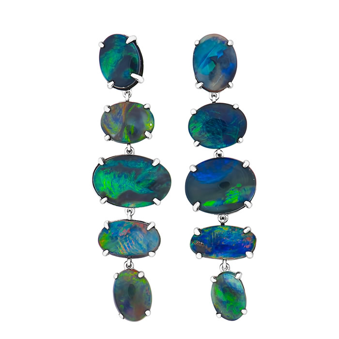 Black Opal dangling earrings - John's newest design. The multi-colored Black Opals display the spectacular variety of Black Opal colors from Lightning Ridge.  The earrings have 10.39 carats of Black Opal set in 18k white gold.