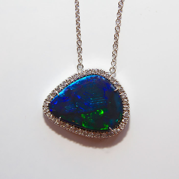 'Ladies Black Opal and Diamond necklace