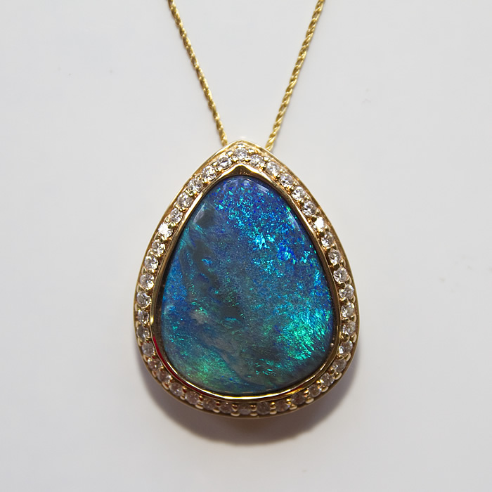 Platinum Black Opal and Diamond Pendant