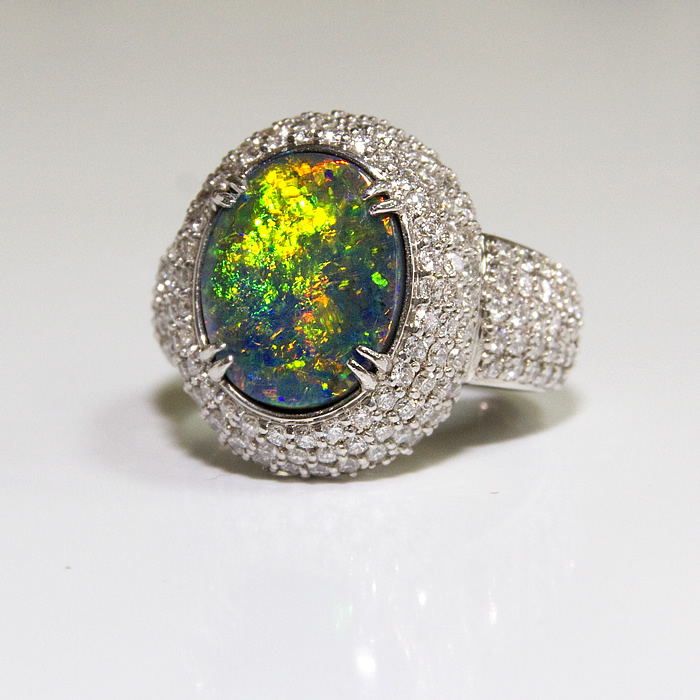 black opal and diamond ring show stopper