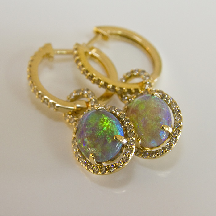 Black opal earrings containing 2.07cts of stunning black opal