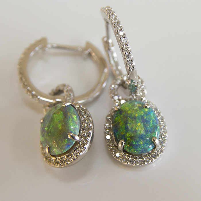 Black Opal Earrings with 9.30 carats of sensational black opal