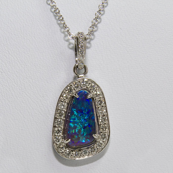 Ladies Black Opal and Diamond Necklace, Free form Black Opal weighing 2.41 Carats